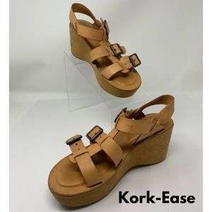 Kork-Ease Tan Strappy Wedge Sandals